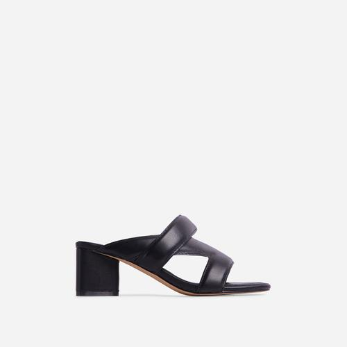 Fangirl Cross Strap Detail Sculptured Low Block Heel Mule In Black Faux Leather