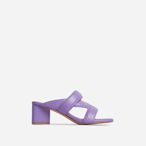 Fangirl Cross Strap Detail Sculptured Low Block Heel Mule In Purple Faux Leather