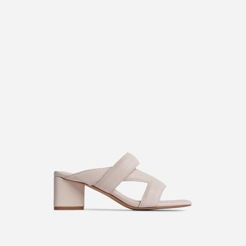 Fangirl Cross Strap Detail Sculptured Low Block Heel Mule In Cream Faux Leather
