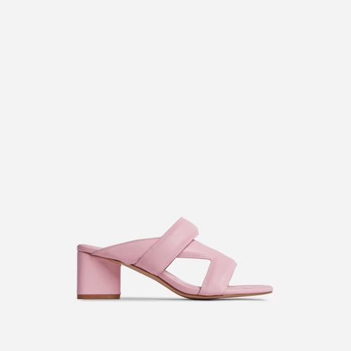 Fangirl Cross Strap Detail Sculptured Low Block Heel Mule In Pink Faux Leather
