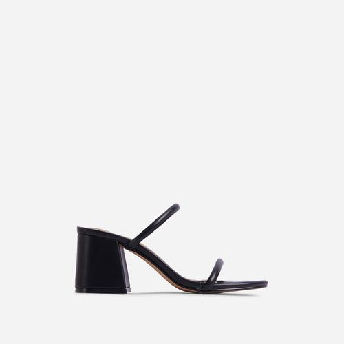 Fearless Double Strap Detail Low Block Heel Mule In Black Faux Leather