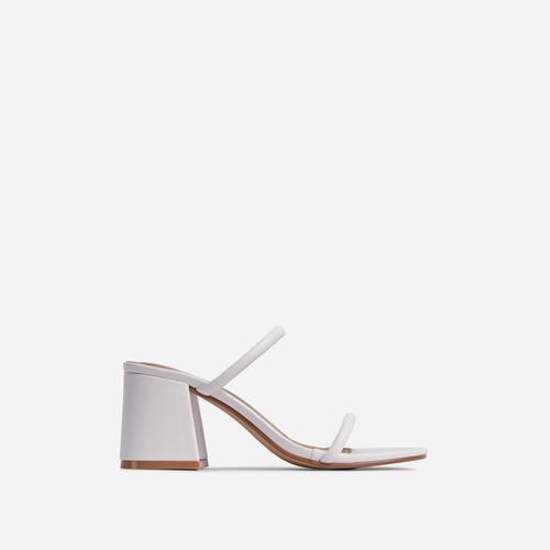 Fearless Double Strap Detail Low Block Heel Mule In White Faux Leather