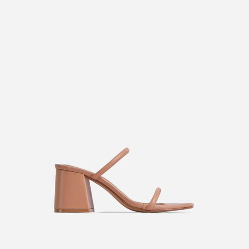 Fearless Double Strap Detail Low Block Heel Mule In Nude Faux Leather