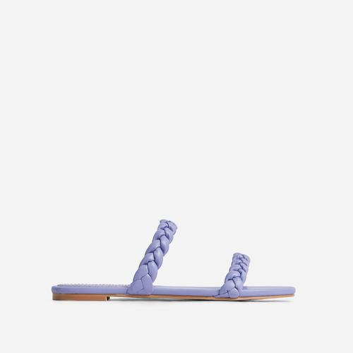 Ceelo Wide Fit Double Braided Strap Detail Flat Slider Sandal In Lilac Faux Leather