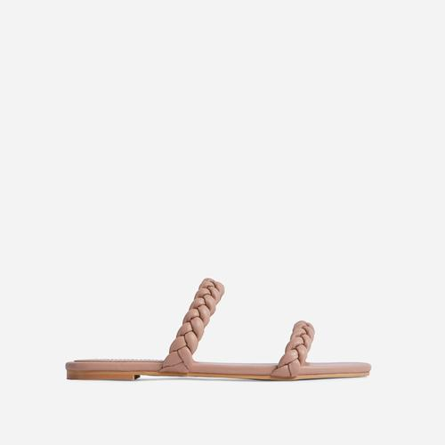 Ceelo Double Braided Strap Detail Flat Slider Sandal In Nude Faux Leather