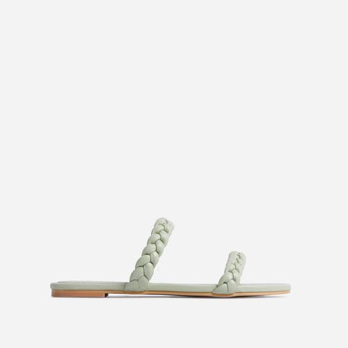 Ceelo Wide Fit Double Braided Strap Detail Flat Slider Sandal In Mint Green Faux Leather