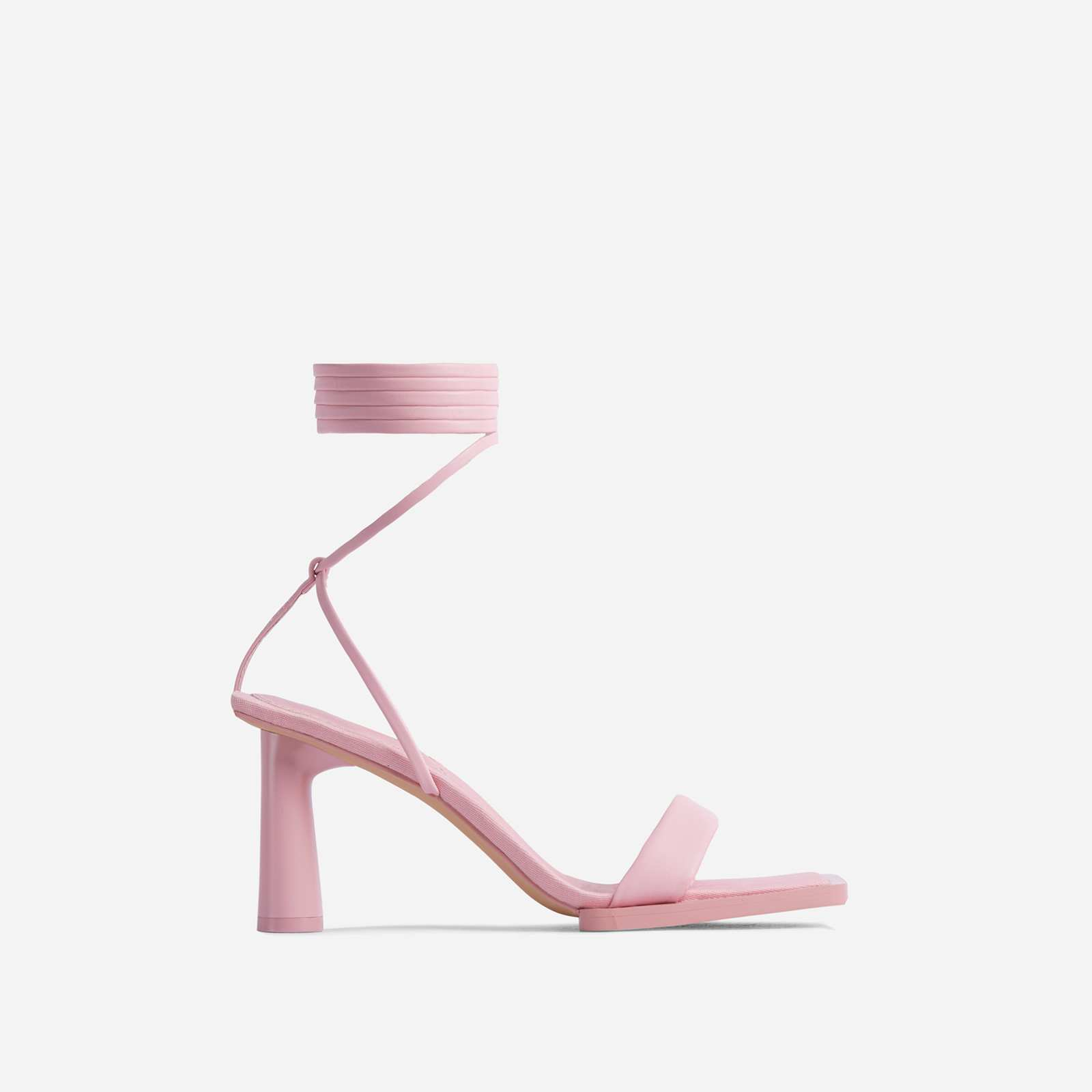 Bubbly Lace Up Square Toe Low Round Block Heel In Pink Faux Leather