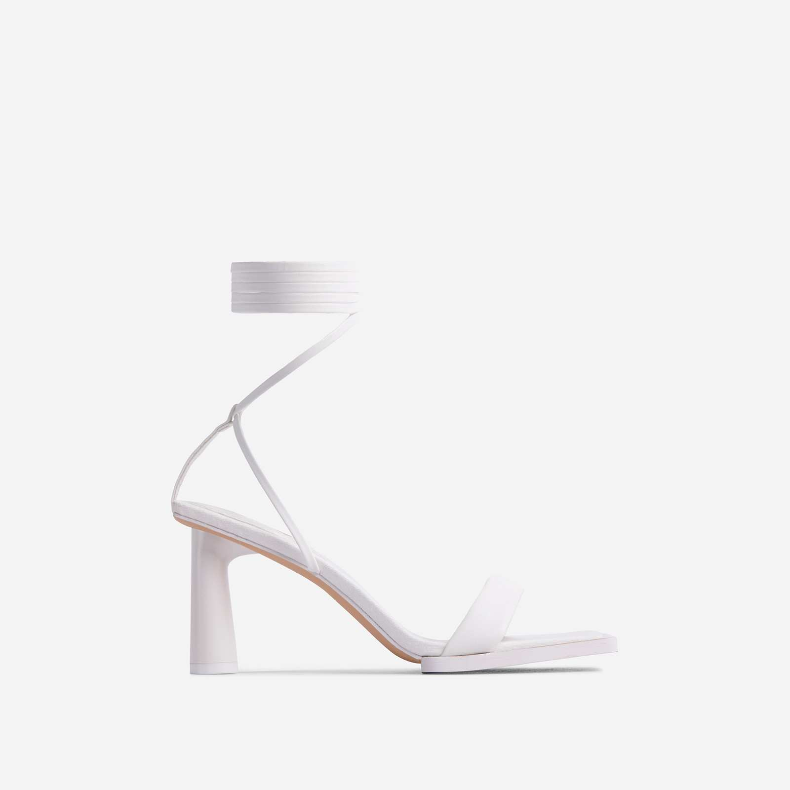 Bubbly Lace Up Square Toe Low Round Block Heel In White Faux Leather