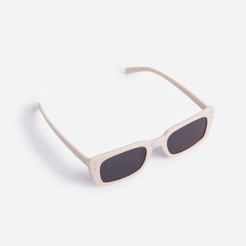Square Retro Sunglasses In Nude