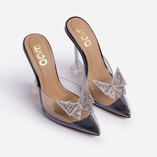 XOXO Diamante Butterfly Detail Pointed Clear Perspex Toe Sculptured Heel In Black Patent