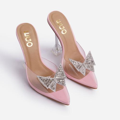 XOXO Diamante Butterfly Detail Pointed Clear Perspex Toe Sculptured Heel In Pink Faux Leather