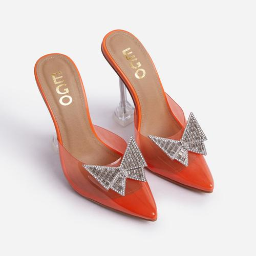 XOXO Diamante Butterfly Detail Pointed Clear Perspex Toe Sculptured Heel In Orange Faux Leather