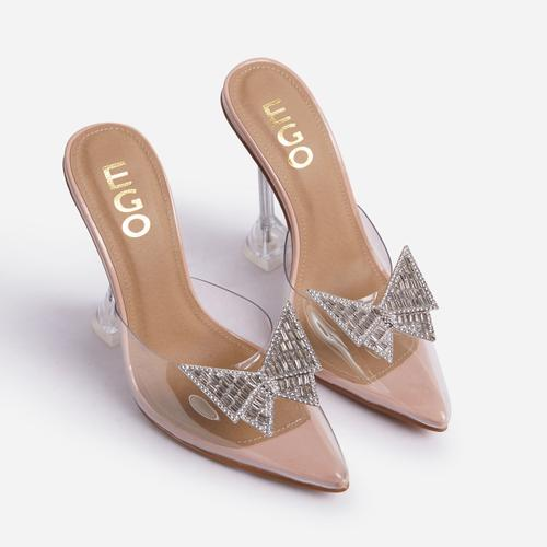 XOXO Diamante Butterfly Detail Pointed Clear Perspex Toe Sculptured Heel In Nude Patent