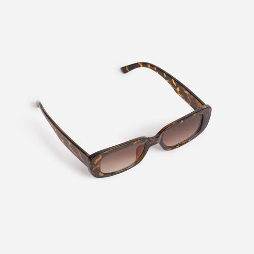 Slim Square Sunglasses In Tortoise Shell Print