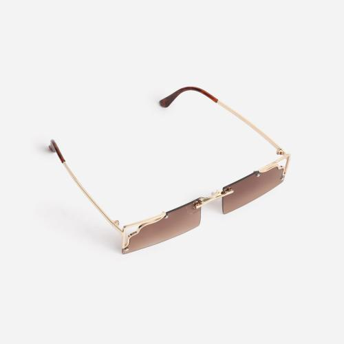 Cut Out Detail 90's Rectangular Sunglasses In Brown