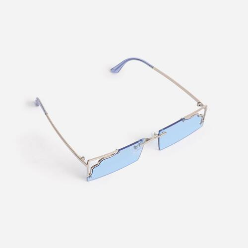 Cut Out Detail 90's Rectangular Sunglasses In Blue