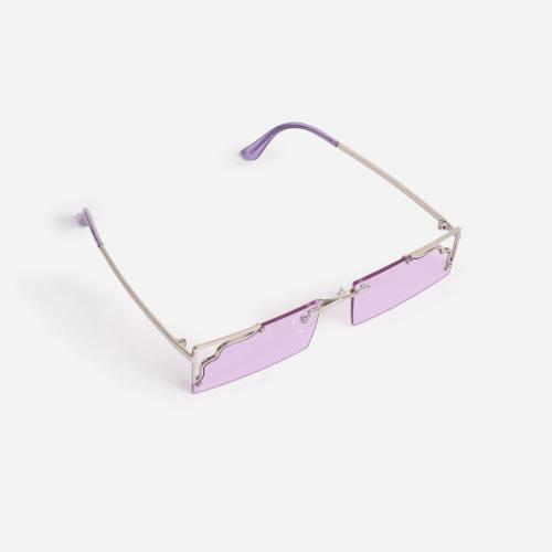 Cut Out Detail 90's Rectangular Sunglasses In Pink