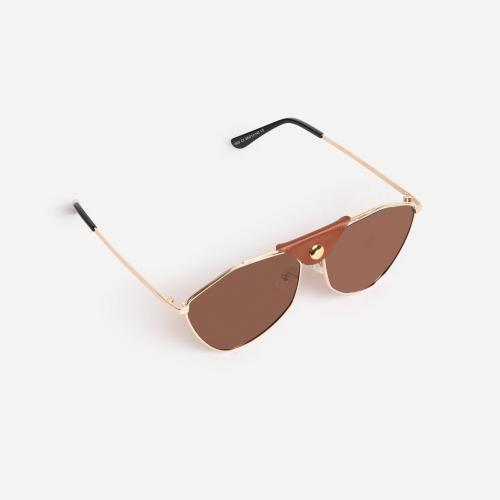 Button Detail Aviator Sunglasses In Brown