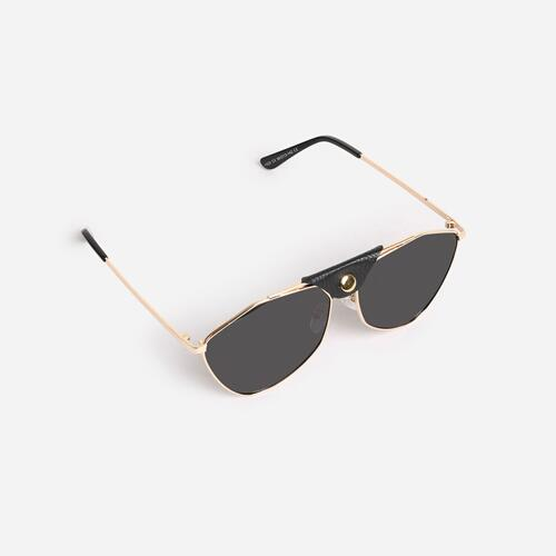 Button Detail Aviator Sunglasses Black