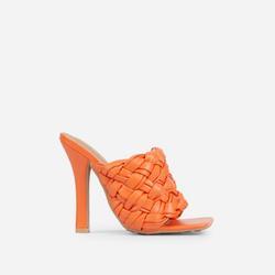 Litty Woven Square Peep Toe Track Sole Heel In Orange Faux Leather