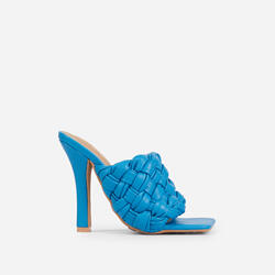 Litty Woven Square Peep Toe Track Sole Heel In Blue Faux Leather