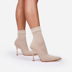 Goal-Getter Pointed Toe Ankle Sock Boot In Nude Knit