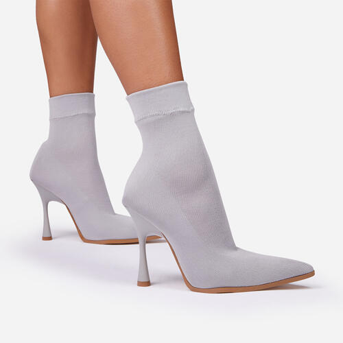Goal-Getter Pointed Toe Ankle Sock Boot In Grey Knit