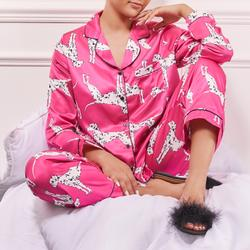 Long Sleeve Top And Trousers Pyjama Set In Pink Dalmation Dog Print Satin