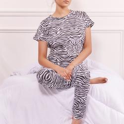 Pyjama Set In Zebra Print Jersey