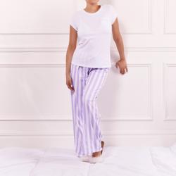 Princess T-Shirt And Stripe Trousers Pyjama Set In White Jersey