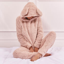 Teddy Ear Pyjama Set In Light Brown Fleece