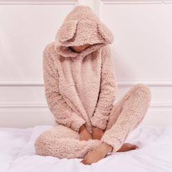 Teddy Ear Pyjama Set In Light Brown Fleece