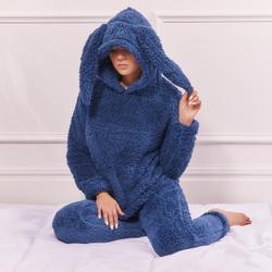 Rabbit Ear Pyjama Set In Navy Fleece