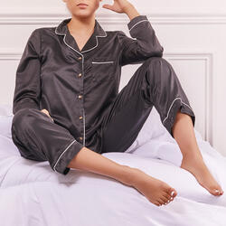 Long Sleeve Top And Trousers Pyjama Set In Black Satin