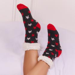 Star Print Lined Slipper Socks In Black