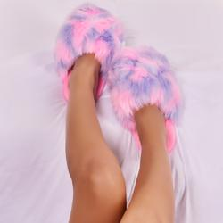 Dome Fluffy Slipper In Multi Faux Fur