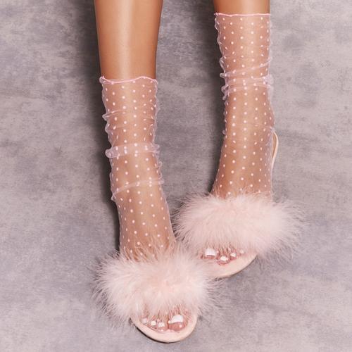 Spotty Print Socks in Pink Mesh