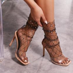 Diamante Detail Socks in Black Fishnet Mesh