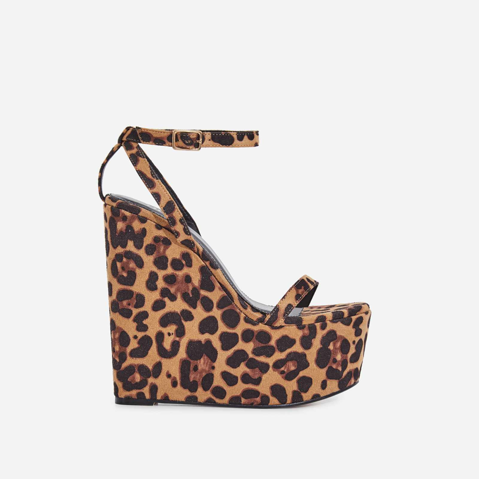 Sunlight Wedge Platform Heel In Tan Leopard Print Faux Suede