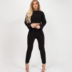 Ribbed Knitted Crop Top Loungewear Set In Black