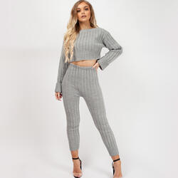 Ribbed Knitted Crop Top Loungewear Set In Grey