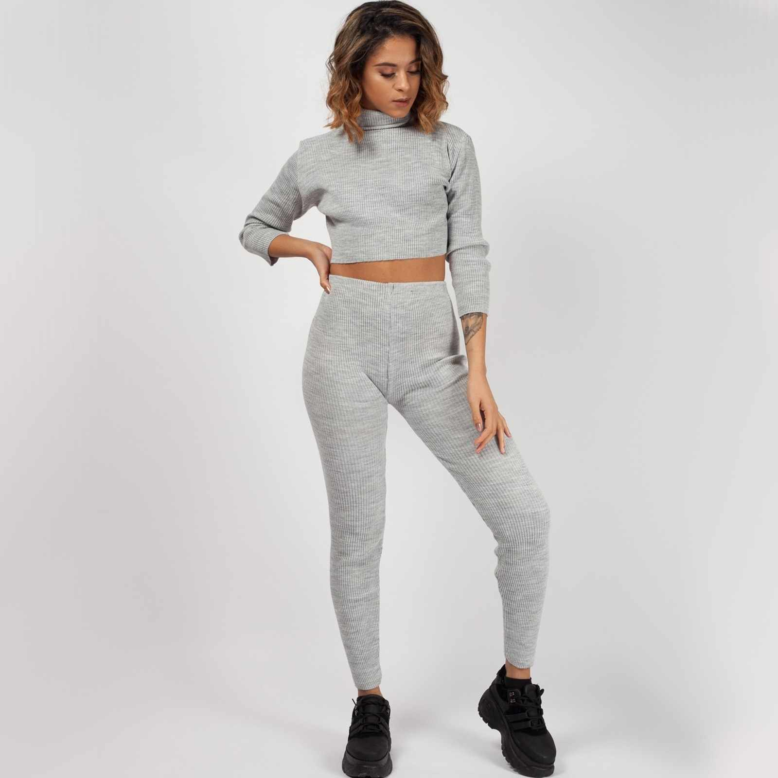 Roll Neck Knitted Ribbed Loungewear Set In Grey