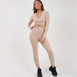Ribbed Ruched Crop Top Loungewear Set In Nude