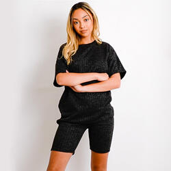Melange Knit Oversized T-Shirt And Shorts Loungewear Set In Black