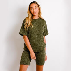Melange Knit Oversized T-Shirt And Shorts Loungewear Set In Khaki Green