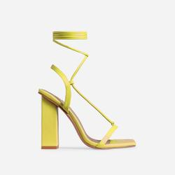 Scandalous Lace Up Square Toe Block Heel In Yellow Faux Leather