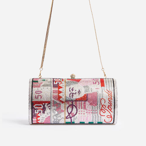 Exotic Premium Crystal Money Clutch Bag In Pink