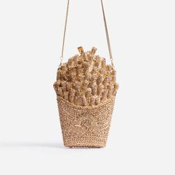 Tropical Premium Crystal French Fries Cross Body Bag In Gold