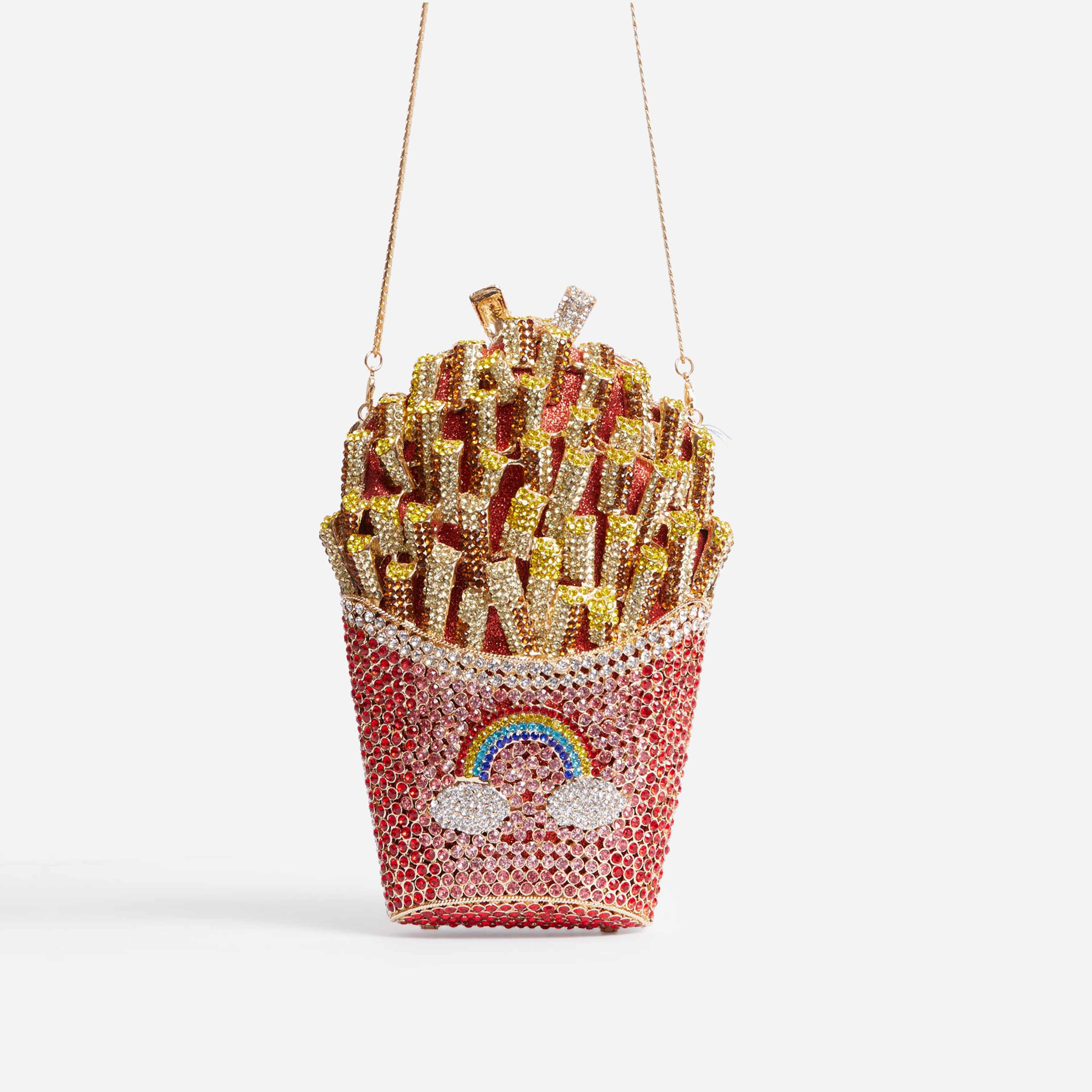 Tropical Premium Crystal French Fries Cross Body Bag In Red