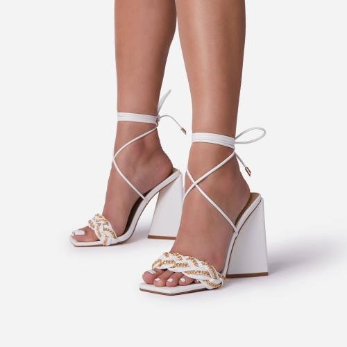 Vanessa Braided Chain Strap Detail Lace Up Square Toe Sculptured Flared Block Heel In White Faux Leather